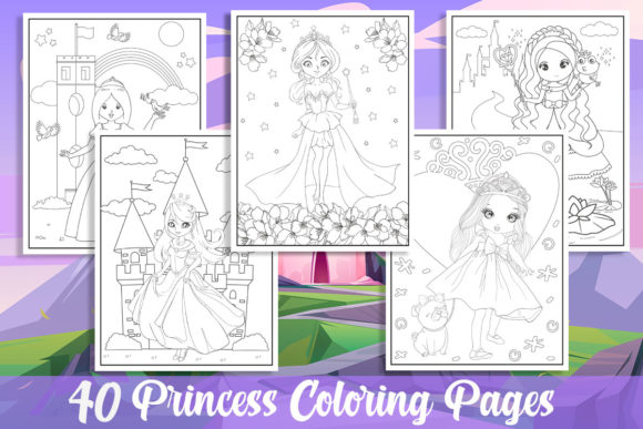 40 Princess Coloring Pages for Girls Graphic Coloring Pages & Books Kids By KING ROX