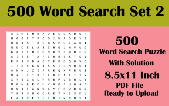500 Word Search 8.5x11 Puzzle Volume 2 Graphic KDP Interiors By Seven Elephant