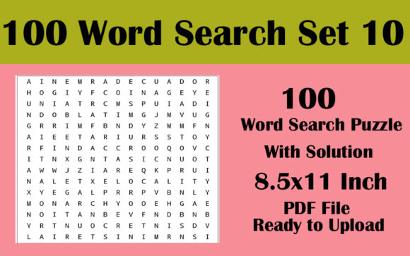8.5x11 100 Word Search Puzzle Volume 10 Graphic KDP Interiors By Seven Elephant