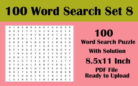 8.5x11 100 Word Search Puzzle Volume 8 Graphic KDP Interiors By Seven Elephant