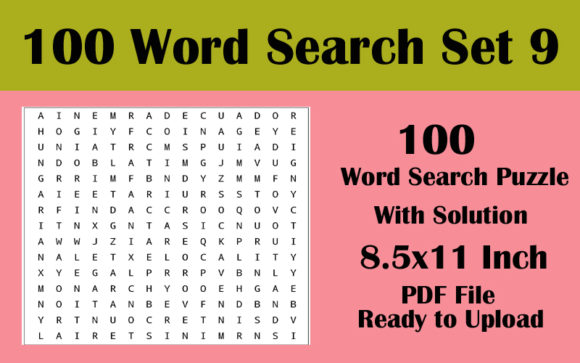 8.5x11 100 Word Search Puzzle Volume 9 Graphic KDP Interiors By Seven Elephant