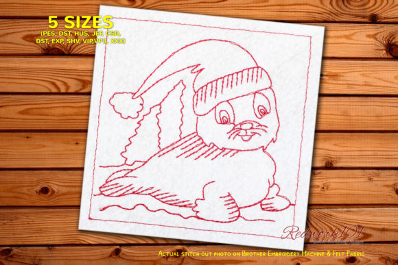 Baby Seal with Christmas Hat Redwork Christmas Embroidery Design By Redwork101