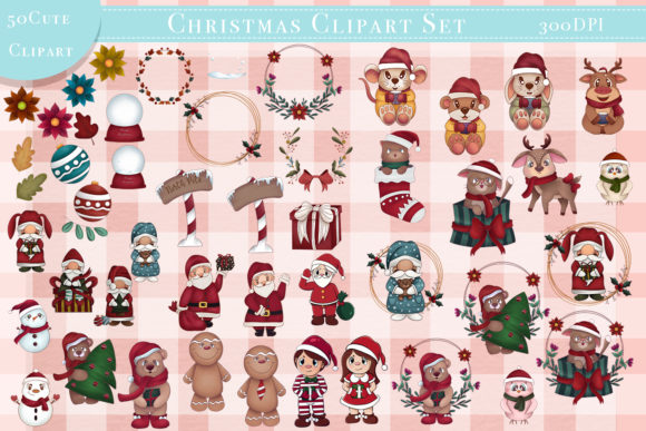 Print on Demand: Big Set 50 Christmas Clipart and Pattern Graphic Illustrations By StudioAngelArts