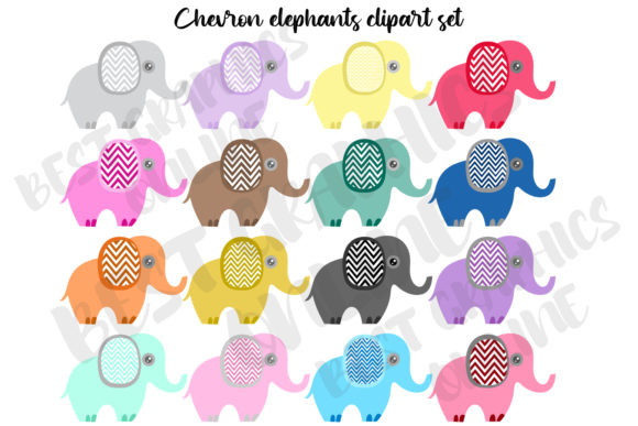 Chevron Elephants Clipart Graphics, Elep Graphic Illustrations By bestgraphicsonline