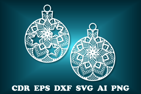 Print on Demand: Christmas Balls Mandala, Christmas SVG Graphic Print Templates By vectormarket