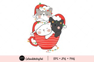 Christmas Cat in Red Cup Clip Art Graphic Illustrations By CatAndMe