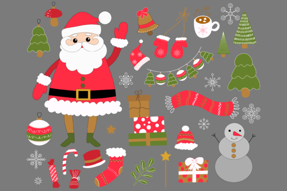 Print on Demand: Christmas Clip Art with Santa Graphic Illustrations By CuteShopClipArt