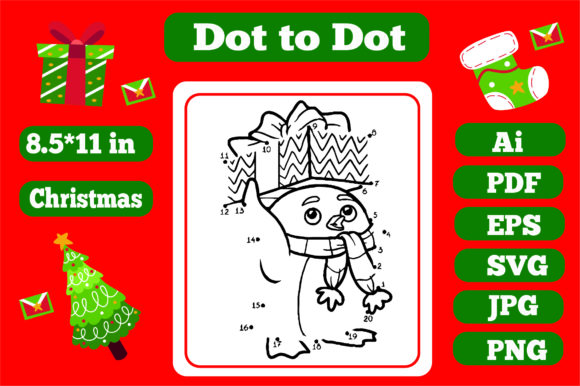 Print on Demand: Christmas Connect the Dots for Kids 5 Graphic Coloring Pages & Books Kids By KDP_Interior_101