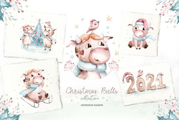 Christmas Cute Bulls Collection! Graphic Download