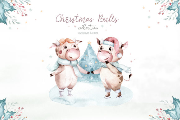 Christmas Cute Bulls Collection! Graphic Item