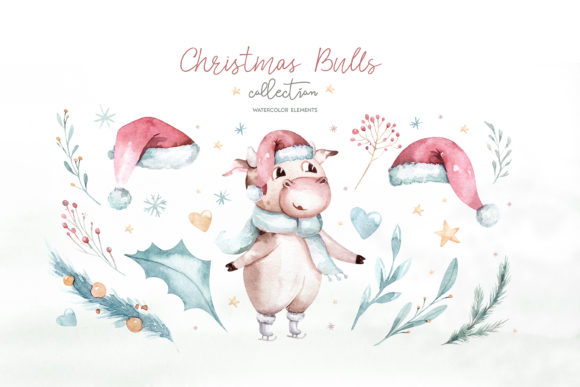 Christmas Cute Bulls Collection! Graphic Design