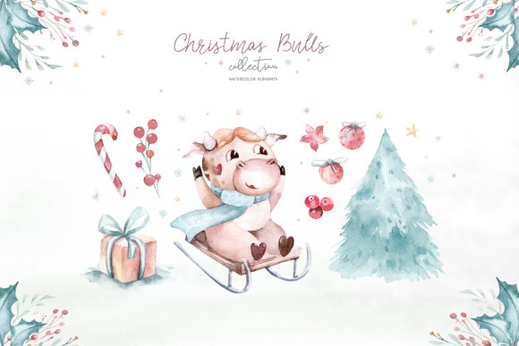 Christmas Cute Bulls Collection! Graphic Preview