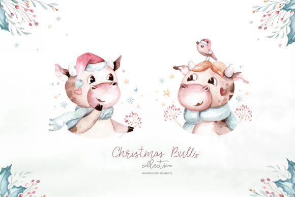 Christmas Cute Bulls Collection! Graphic Image