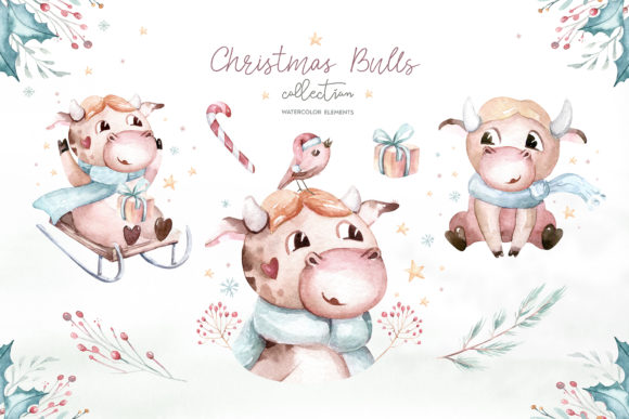 Christmas Cute Bulls Collection! Graphic Design Item