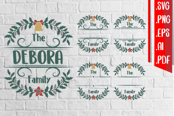 Christmas Family Floral Monogram Graphic Crafts By assalwaassalwa