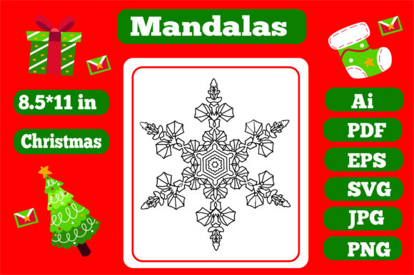 Print on Demand: Christmas Mandala for Adults 3 Graphic Coloring Pages & Books Adults By KDP_Interior_101