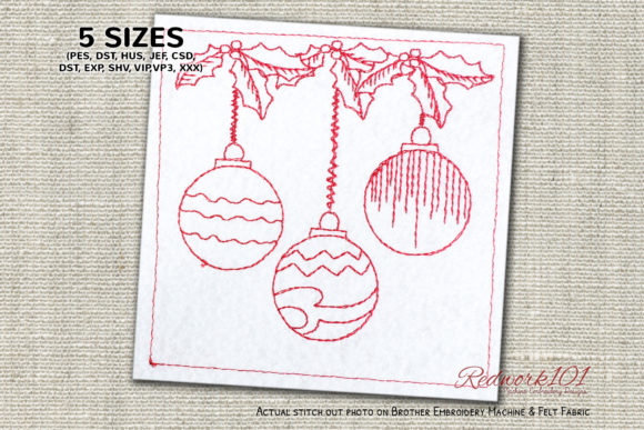 Christmas Ornaments Redwork Christmas Embroidery Design By Redwork101
