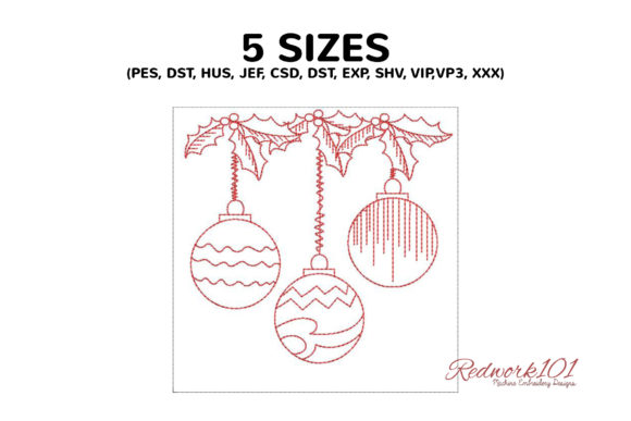 Christmas Ornaments Redwork Embroidery Download