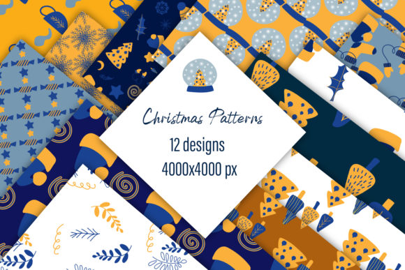 Print on Demand: Christmas Patterns with Doodles Graphic Patterns By ElenaZlataArt