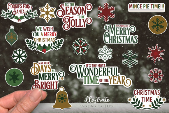 Christmas Stickers Bundle Graphic