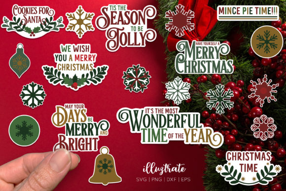 Christmas Stickers Bundle Graphic Download