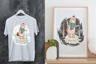 Christmas Winter Snow with Cute Bear Graphic Illustrations By onoborgol