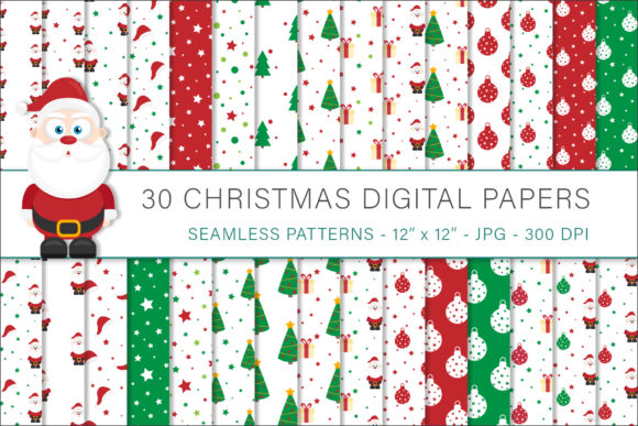 Print on Demand: Christmas Digital Papers, Christmas Patt Graphic Patterns By AS Digitale