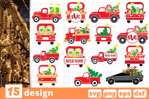 Print on Demand: Christmas Truck SVG Bundle Graphic Crafts By SvgOcean