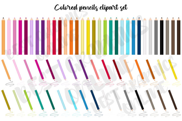 Colored Pencils Clipart Set Coloring Graphic Illustrations By bestgraphicsonline