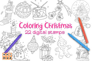 Coloring Christmas - 22 Digital Stamps Graphic Illustrations By AnimadDesign