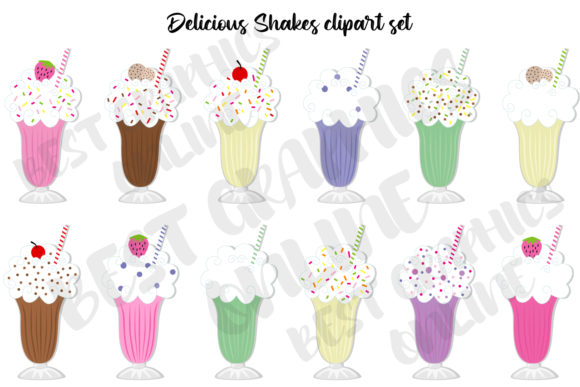 Delicious Shakes Clipart Set Smoothie Graphic Illustrations By bestgraphicsonline