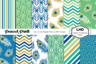 Digital Paper Peacock Feather Patterns Graphic Patterns By LeskaHamatyDesign