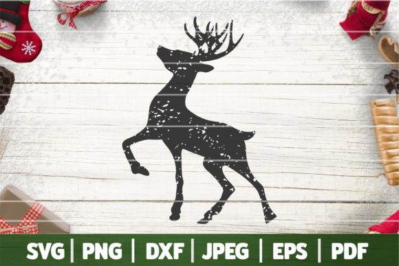 Distressed Rudolph Silhouette SVG, Distr Graphic Crafts By SeventhHeaven Studios