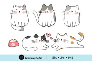 Draw Cute Cat Clipart Graphic Illustrations By CatAndMe