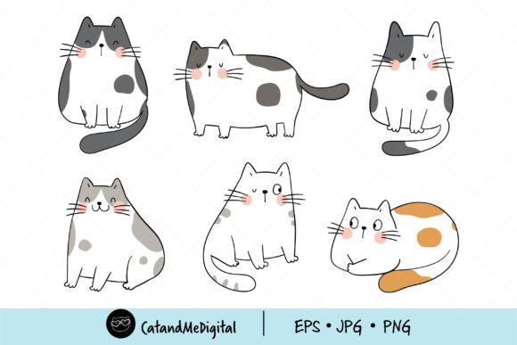 Draw Doodle Funny Cat Clipart Graphic Illustrations By CatAndMe