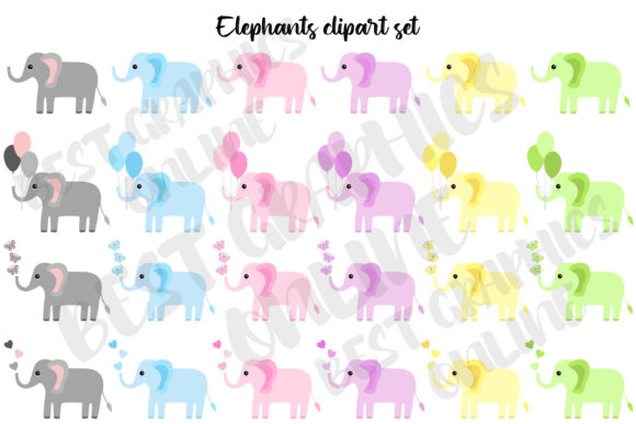 Elephants Clipart Set Babyshower Hearts Graphic Illustrations By bestgraphicsonline