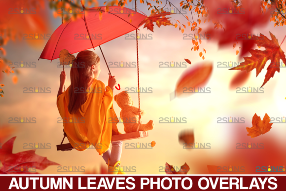 Fall Clipart, Autumn Leaves Overlay Graphic Actions & Presets By 2SUNS
