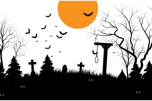 Halloween Scary Cemetery Graphic Crafts By artnovi