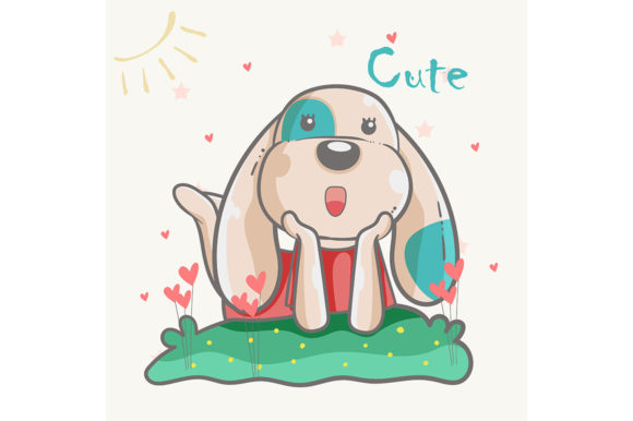 Hand Drawn Cute Dog Graphic Illustrations By maniacvector