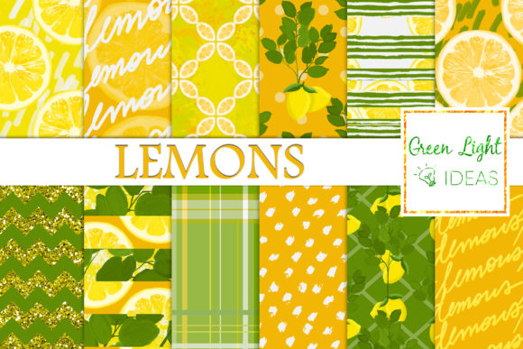 Lemons Digital Papers, Citrus Background Graphic Backgrounds By GreenLightIdeas