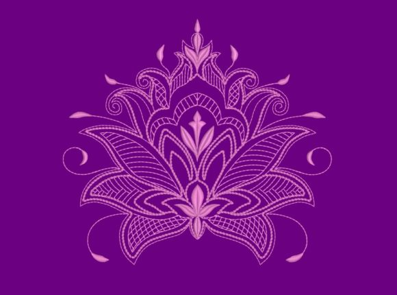 Lotus Flower - in the Hoop Mandala Embroidery Design By DNE embroidery