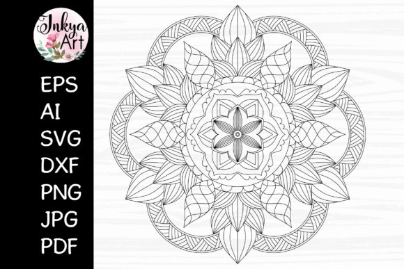 Lotus Mandala Sublimation SVG for Cricut Graphic Crafts By InkyaArt