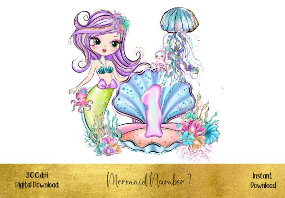 Mermaid Number 1 Graphic Illustrations By STBB