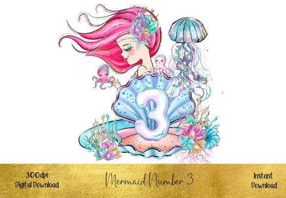 Mermaid Number 3 Graphic Illustrations By STBB
