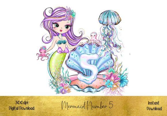 Mermaid Number 5 Graphic Illustrations By STBB