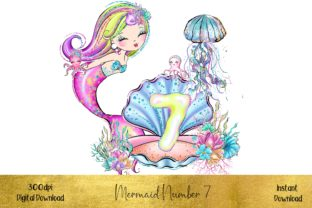 Mermaid Number 7 Graphic Illustrations By STBB