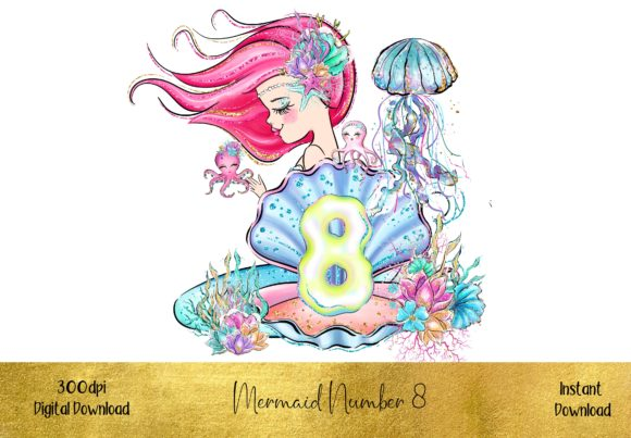 Mermaid Number 8 Graphic Illustrations By STBB