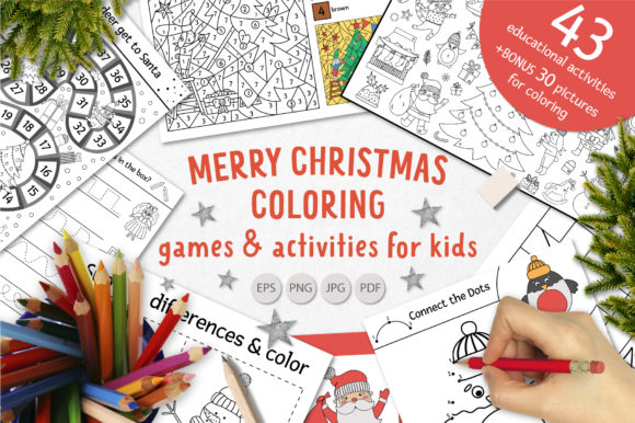 Merry Christmas Coloring Games Graphic