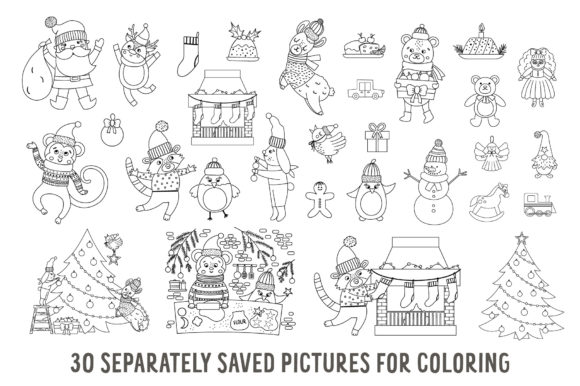 Merry Christmas Coloring Games Graphic Graphic