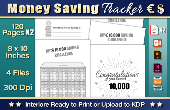 Money Saving Tracker Graphic KDP Interiors By okdecoconcept